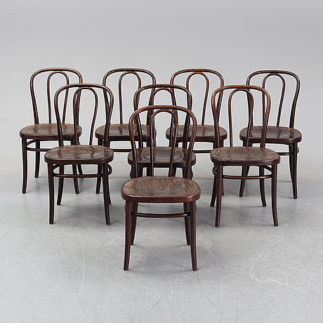 A set of eight wooden chairs, gemla, sweden, late 20th century.