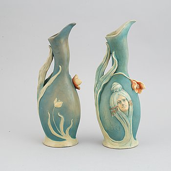 Two similar of Bernard Bloch Austrian Art Nouveau vases, circa 1900.