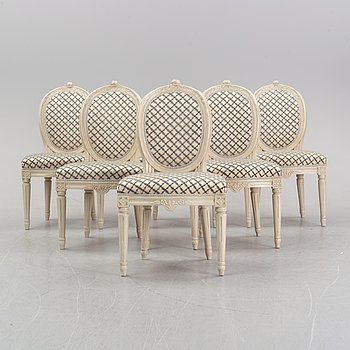 A set of six chairs, Gustavian style, two chairs from 1891, four chairs from the later part of the 20th century.