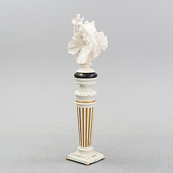 An alabaster bust on pedestal, unknown artist, late 19th century.