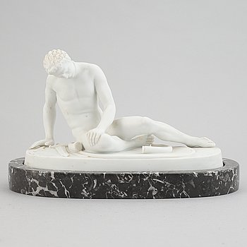 A parian figurine, 'the dying gaul', after an antique sculpture. 20th century.