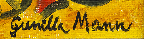 Gunilla mann, oil on canvas signed.