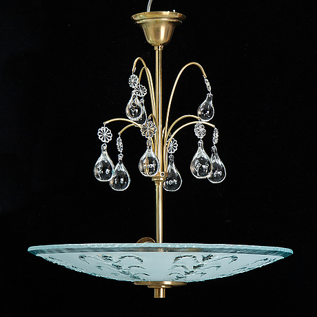 A swedish modern glass ceiling lamp, 1940's.