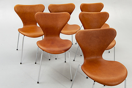 "Arne jacobsen, chairs, 6 pcs, ""seven"", fritz hansen, denmark late 20th century."