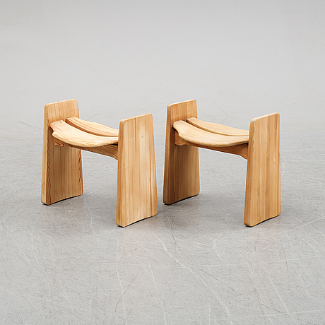 A pair of stools , 'jonte', designed by gilbert marklund in 1969.