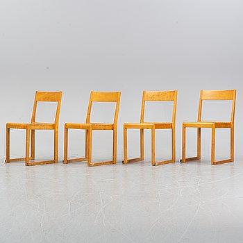 Sven Markelius, four chairs, 'Orkesterstolen', mid 20th century.