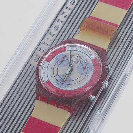 Swatch, chrono, navy berry, wristwatch, chronograph, 36 mm.