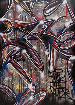Trama, mixed media and spray paint on board, a tergo signed.