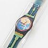 Swatch, blue flamingo, wristwatch, 34 mm.