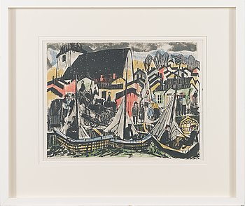 Voitto Jalmari Vikainen, woodcut, signed and dated -61, numbered T.p.l'a 16/35.