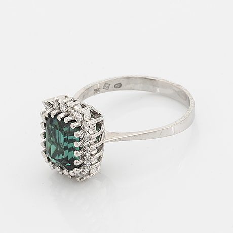 Tourmaline and brilliant-cut diamond cocktail ring.