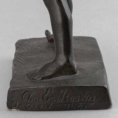 Christian eriksson, sculpture. signed. foundry mark. bronze. height 19.5 cm.
