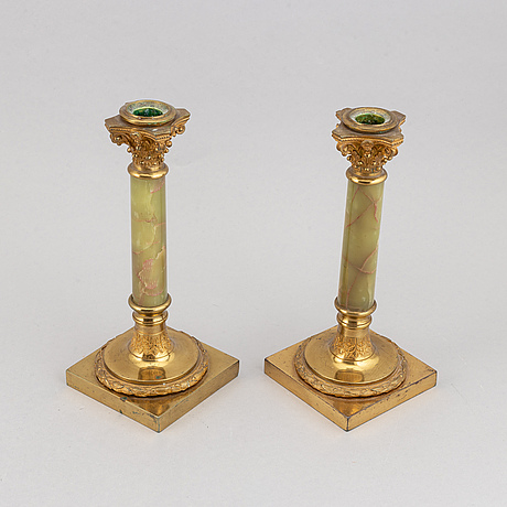 A pair of bronze and onyx candle holders, second half of the 20th century.