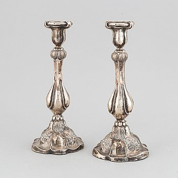 A pair of silver candlesticks, mark of Gustaf Dahlgren, Malmö 1860.