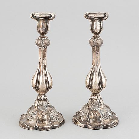 Gustaf dahlgren, ljusstakar, ett par, silver, malmö, 1860.