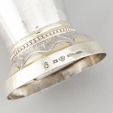 A parcel-gilt swedish silver beaker, mark of anders ahlander, uppsala 1812.