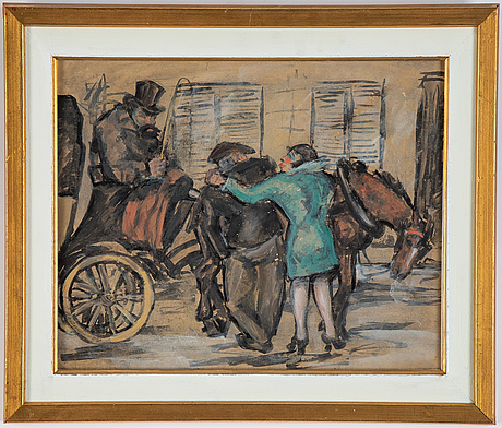 Adolf hallman, gouache, signed and dated -24.