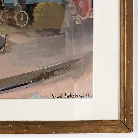 Ernst söderberg, gouache, signed and dated -28.