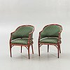 Armchairs / armchairs, a pair, miranda of sweden, late 20th century.