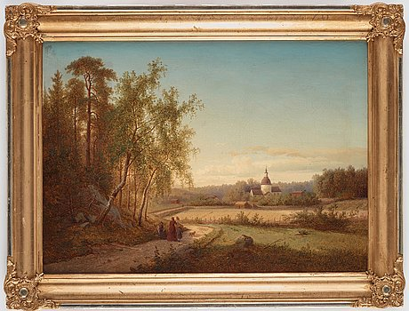 Carl abraham rothstén, signed and dated 1875. canvas 50 x 70 cm. period frame.