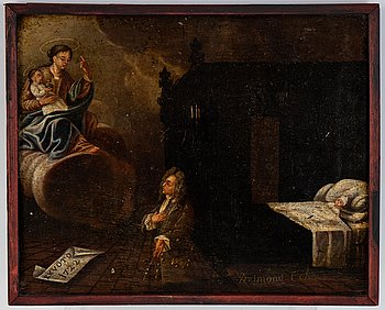 Unknown artist, 18th century, oil on panel, signed and dated 1722.
