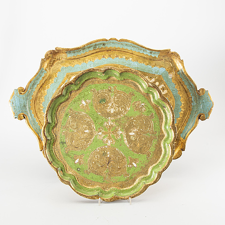 Trays, 5 pcs, paoletti, florence italy mid-20th century.