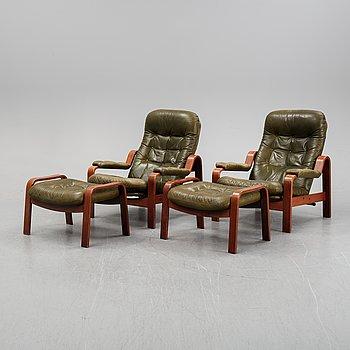 A pair of armchairs with ottomans, G-Design for Göte Möbler Nässjö AB, Nässjö, the second half of the 20th century.