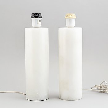 A pair of alabaster table lamps from NK Inredning. 1960's-70's.
