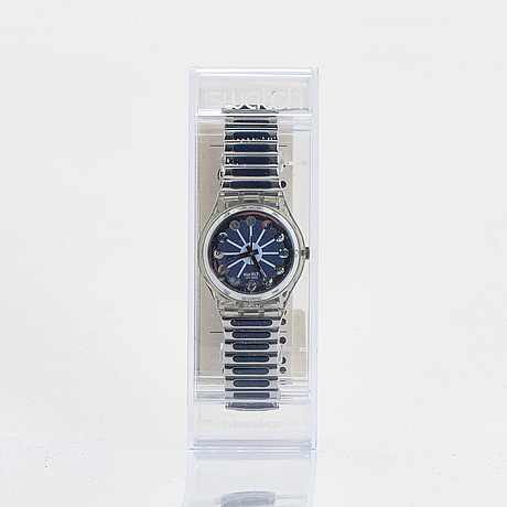 Swatch, blue segment, wristwatch, 34 mm.