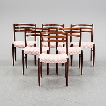 Six rosewood chairs, Denmark, 1960's.