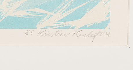 Kristian krokfors, lithograph, signed and dated -86, numeroitu 60/75.