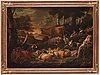Pieter mulier ii, kallad cavaliere tempesta attributed to, pastoral landscape with shepherd, shepherdess and cattle.