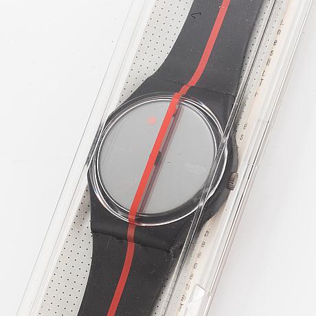 Swatch, 360 blackout, felice varini, wristwatch, 34 mm.
