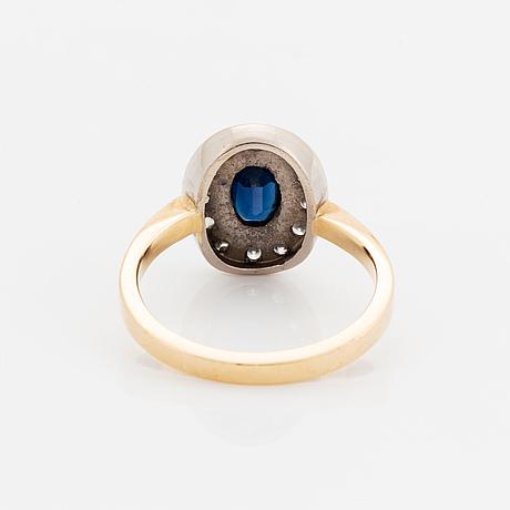 Sapphire and brilliant-cut diamond ring.