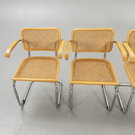 Armchairs, 4 pcs, chromed steel pipe, rattan, 1970s.