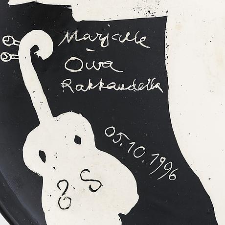 Oiva toikka, dekorationsfat, keramik, signerad los angeles marjalle oiva rakkaudella 05.10. 1996.