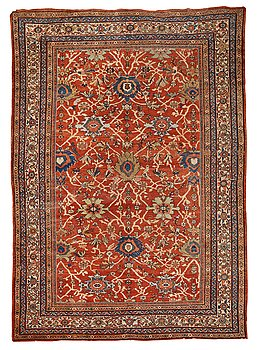 310. Matto, an antique Mahal, Ziegler pattern, ca 371,5-374,5 x 265-266 cm (as well as a little flat weave at one end).