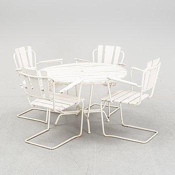 """Trädsgårdsmöbler, stolar """"P1"""", och bord 8/100, AB Trädgårdsmöbler Osby, 1960-tal."""