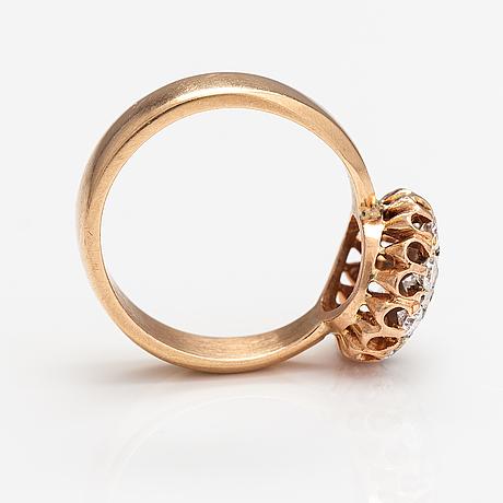 Eero rislakki, ring, 14k guld, diamanter ca. 0.85 ct tot. westerback, helsingfors 1959.