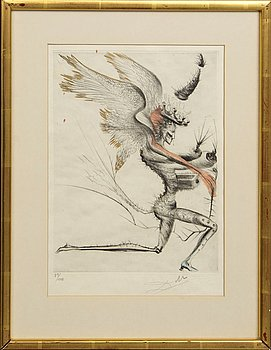 Salvador Dalí, coloured drypoint etching, signed and numbered 39/145.