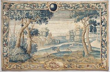 Kudottu tapetti,gobeliinitekniikka,  Hollanti noin 1680. Noin 210 x 325 cm.