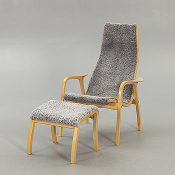 "Yngve Ekström, armchair, ""Lamino"", Swedese, with footstool of another brand."
