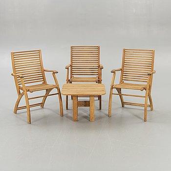 "Staffan Hultgren, Bergaform, 3 chairs, ""Catalina"", a table."