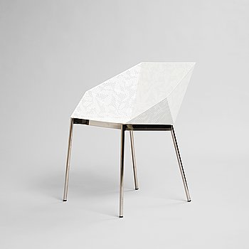 """Claesson Koivisto Rune (CKR), Claesson Koivisto Rune, a """"Sfera Chair"""", Limited edition 7/8, Sfera Japan, 2004. Laser engraved hole leaf pattern in white lacquered stainl..."""