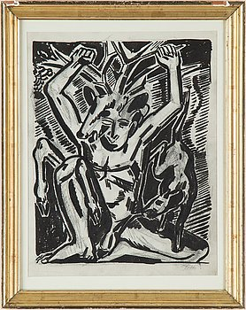 Axel Salto, two woodcuts, one signed Salto.