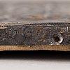 Ikon, med oklad i silver, mästarstämplar andrej gerasimov, moskva, ryssland, 1762.