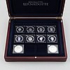 A set of ten silver medals commemorating the bernadotte royal family.