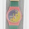 Swatch, blue cassata, wristwatch, 25 m.