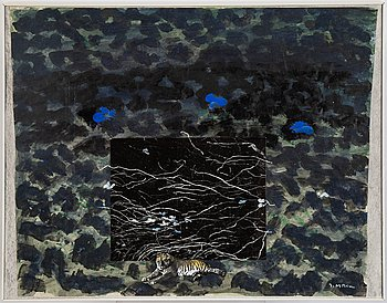 Ingegerd Möller, collage and mixed media. Signed.