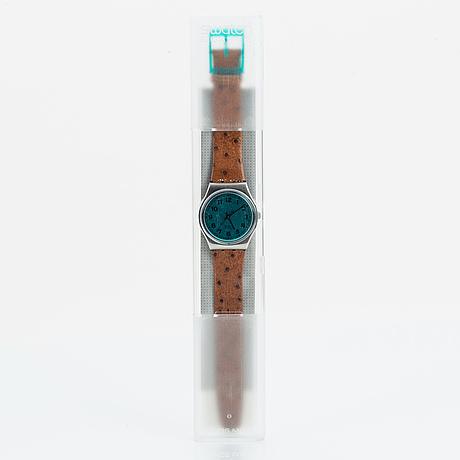 Swatch, greenie, wristwatch, 34 mm.
